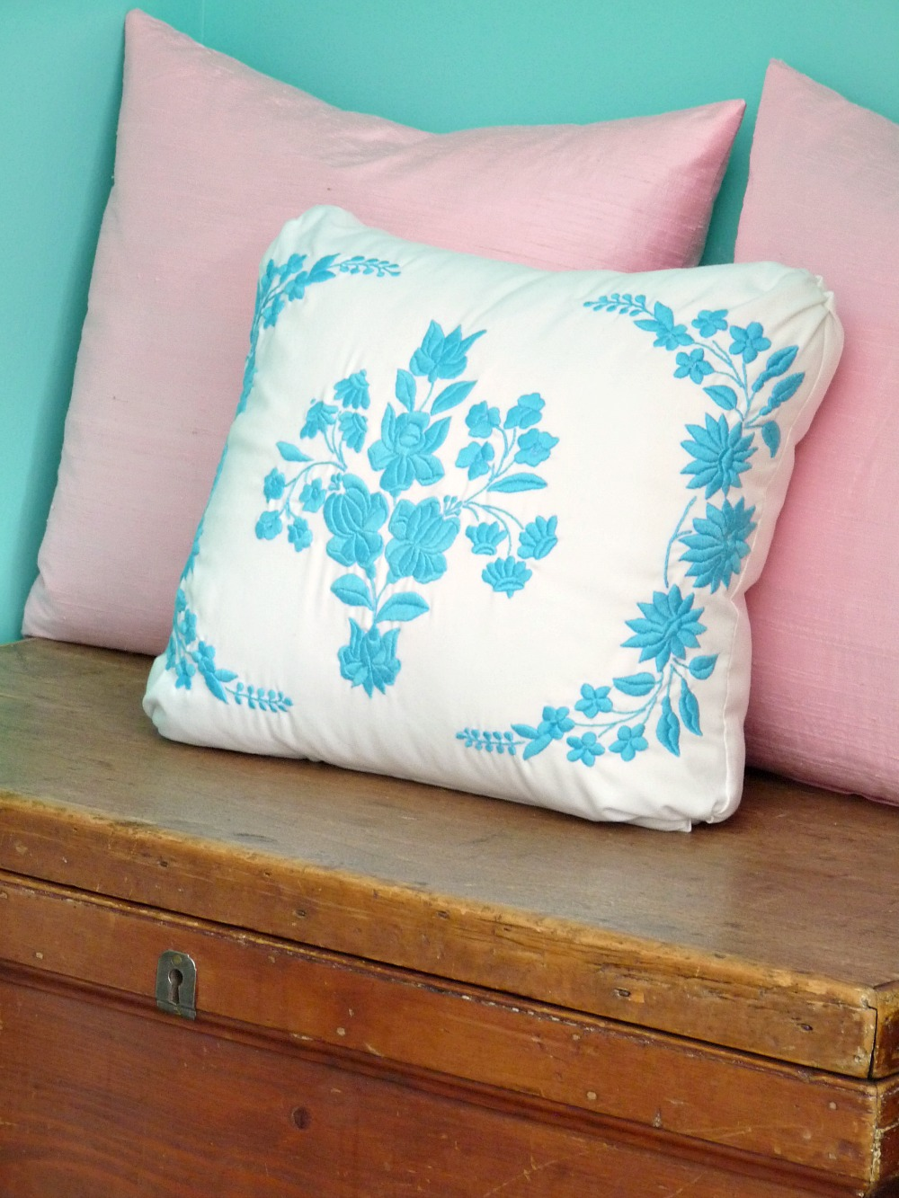 Aqua Hungarian embroidered pillow
