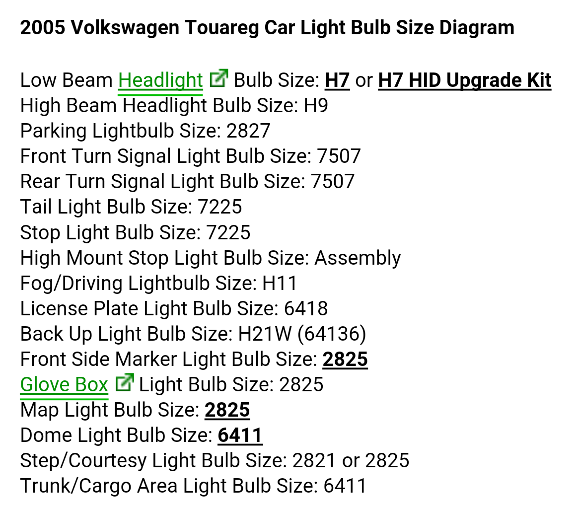medium resolution of 2005 volkswagen touareg car light bulp size diagram