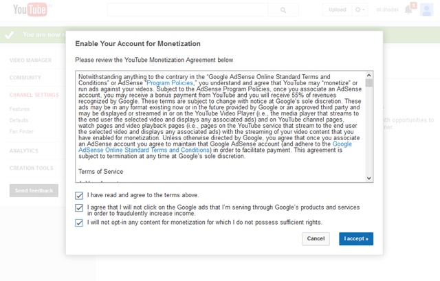 Accept Terms and Condition for Youtube Monetization with Adsense