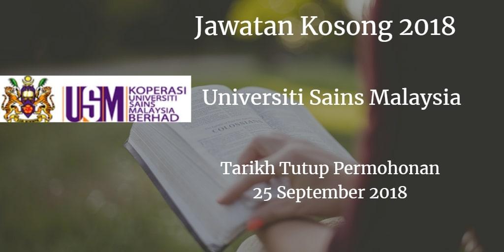 Jawatan Kosong USM 25 September 2018