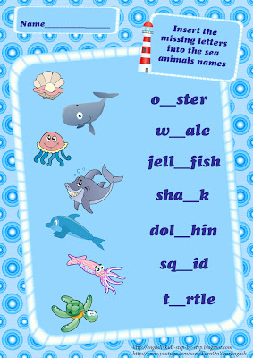 sea animals vocabulary insert the missing letters worksheet