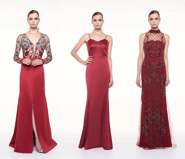 vestido de festa 2017 vermelho e marsala