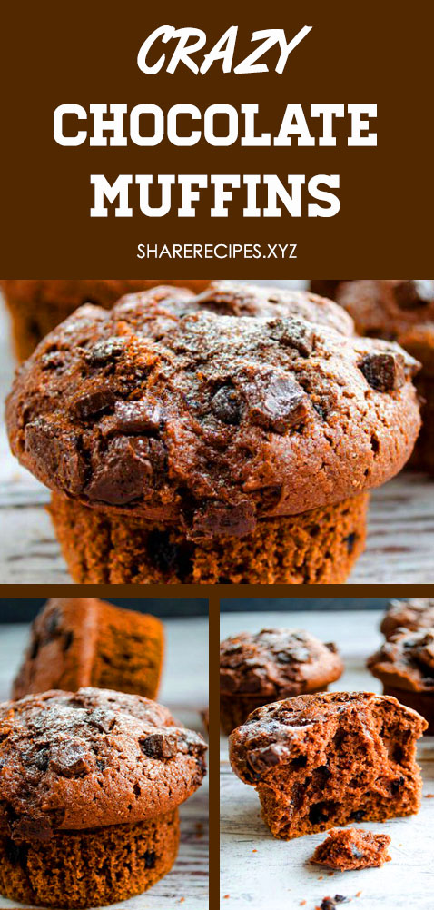 The BEST crazy chocolate muffin recipe - soft, moist and fluffy, loaded with chocolate chips and a perfect crispy sky-high muffin top! Hundreds of rave review. Chocolate banana muffins, Chocolate muffins easy, Raspberry muffins, Double chocolate chip muffins, Chocolate chocolate chip muffins, Brownie muffins #chocolatechipmuffins #easychocolatechipmuffins #bestchocolatechipmuffins #moistchocolatechipmuffins #chocolatemuffins #muffins