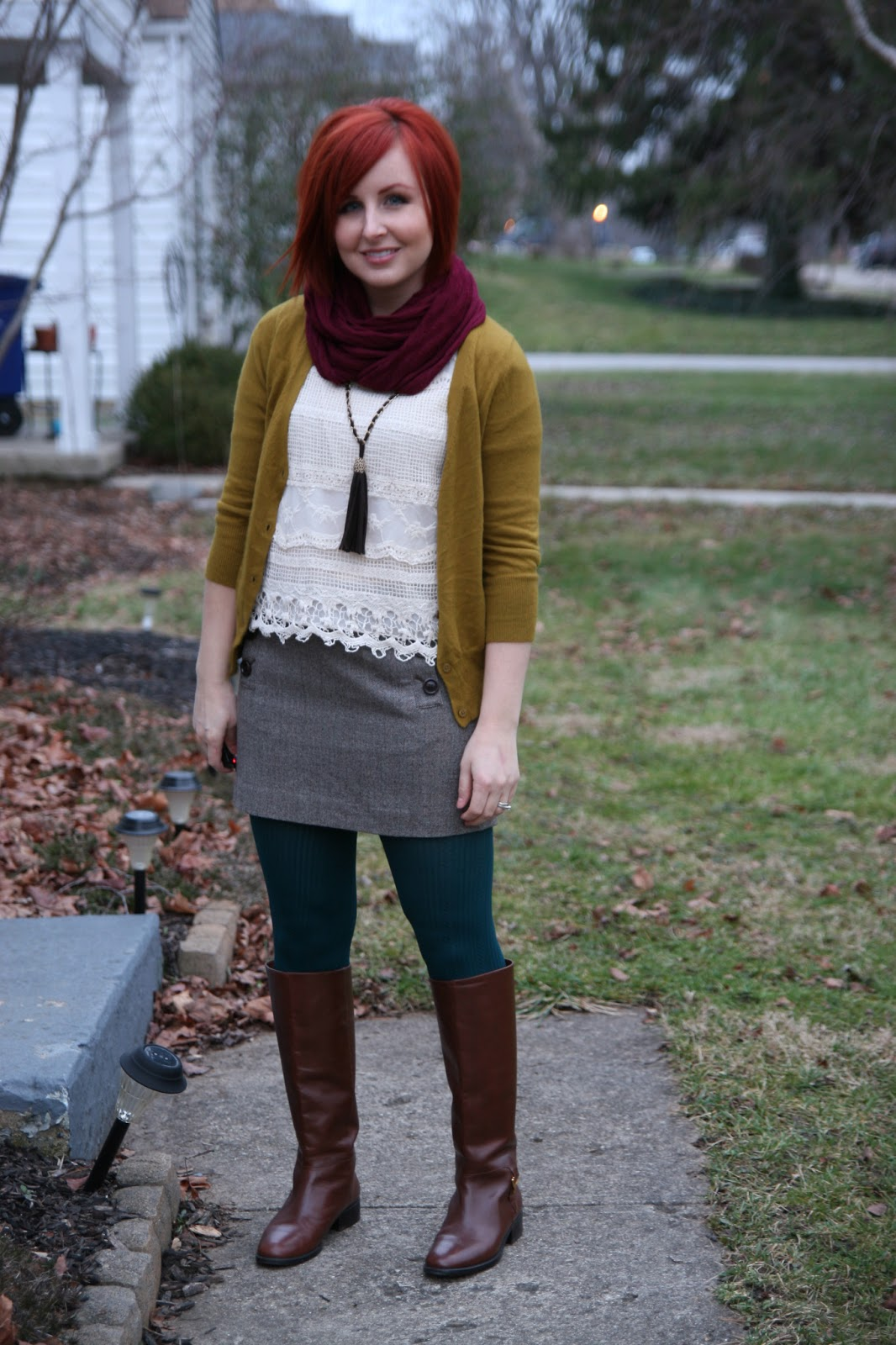 Thrift And Shout: Cute Outfit Of The Day: Lace And Tweed