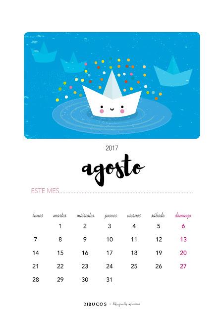 Dibu calendario imprimible gratis para agosto