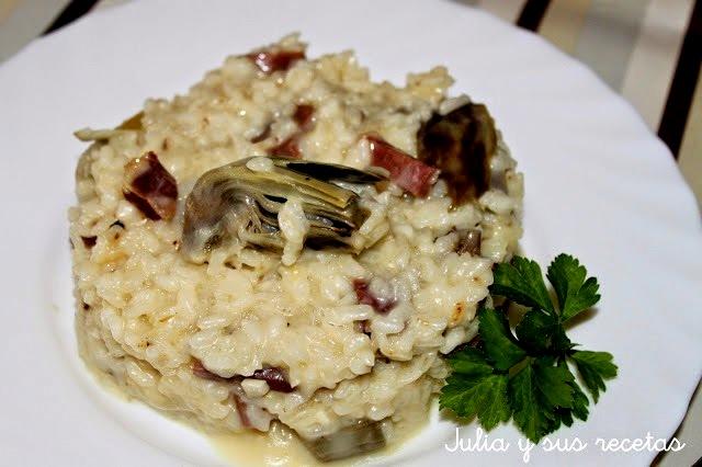 Risotto de alcachofas y jamón. Julia y sus recetas