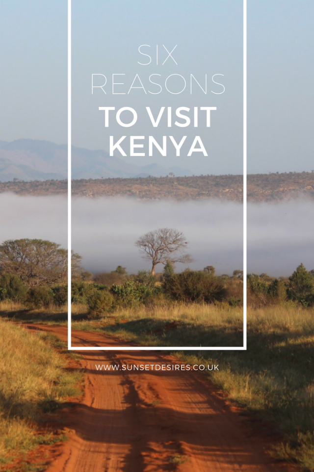 Banner saying Six Reasons To Visit Kenya with a background of an area in Kenya