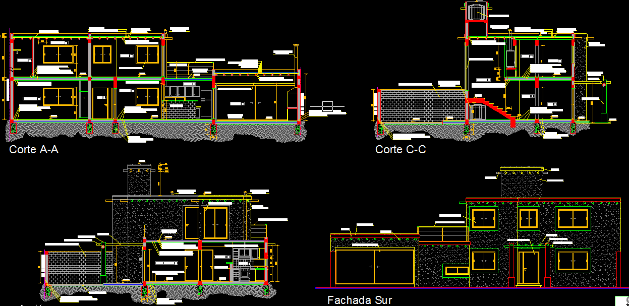 Two story 4 bedrooms house architecture sections