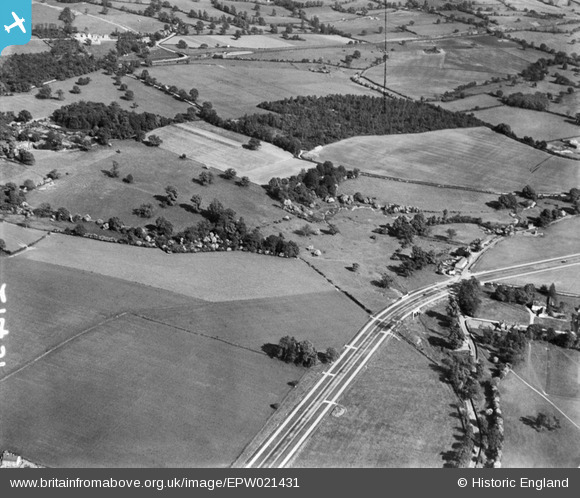 Photograph of Brick Kiln Wood and surrounding countryside, Water End, 1928