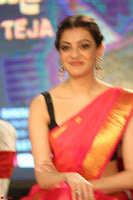 Kajal Aggarwal in Red Saree Sleeveless Black Blouse Choli at Santosham awards 2017 curtain raiser press meet 02.08.2017 053.JPG