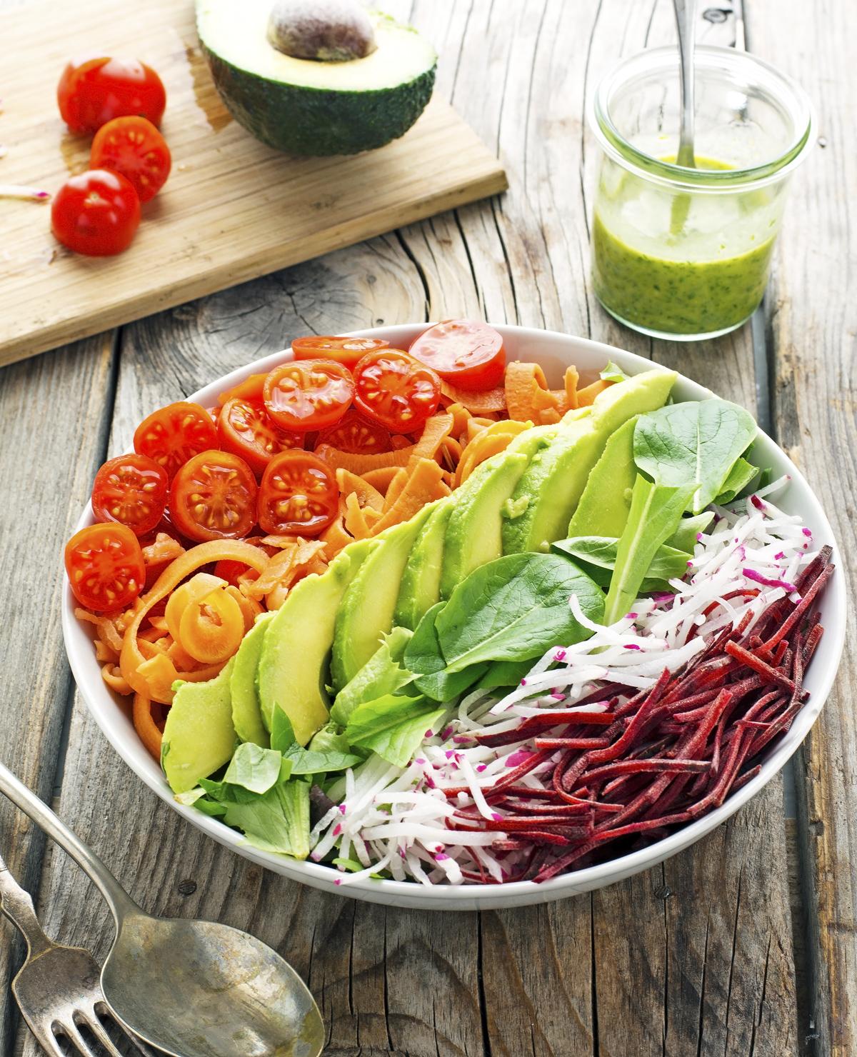 Rainbow Salad with Parsley Lemon Vinaigrette