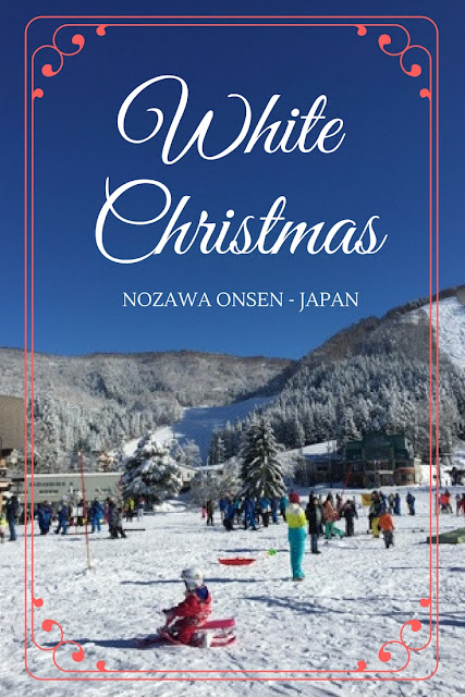 White Christmas in Nozawa Onsen - Japan. This is an absolutely delightful village to stay in Japan if you want to ski and experience a white Christmas in Japan.
