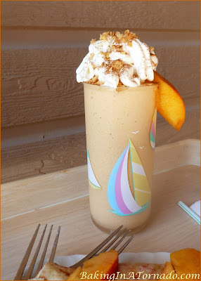 Peach Pie Milkshake, a delicious summer peach flavored milkshake can be made with or without alcohol | Recipe developed by www.BakingInATornado.com | #recipe #drink #peach