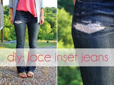 Pantalones vaqueros con rotos de encaje