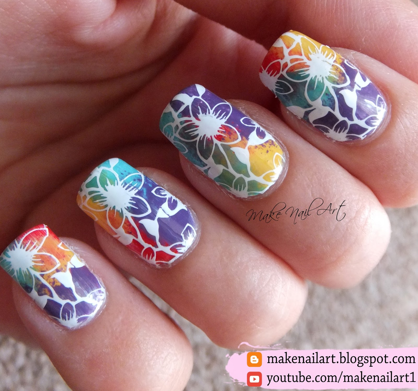 Make Nail Art Stamping Flowers With Rainbow Background Nail Art