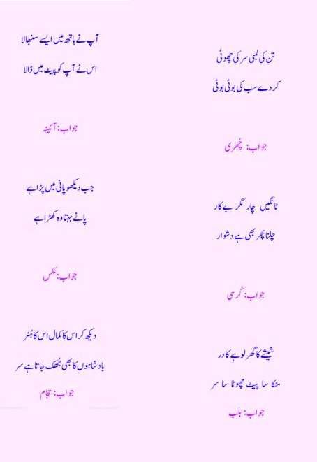 Urdu Riddles Paheliyan Book