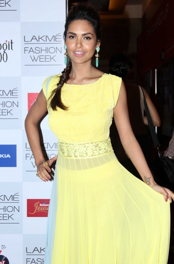 Indian Glamours Girl Esha Gupta Stills In Yellow Dress At Lakme Fashion Week