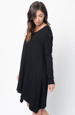 Buy Now black Back Raglan Draped Dress Online $38 -@caralase.com