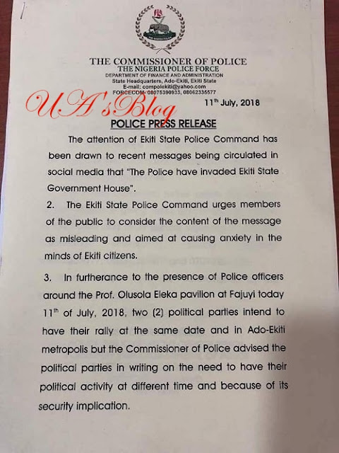 Why We Sieged At Ekiti Government House Yesterday - Police Issues Official Statement