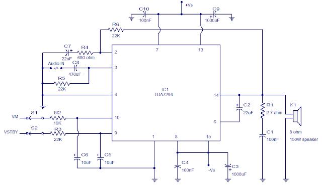 الدائرة الالكترونية للمكبر الصوت ذو القدرة العالية
