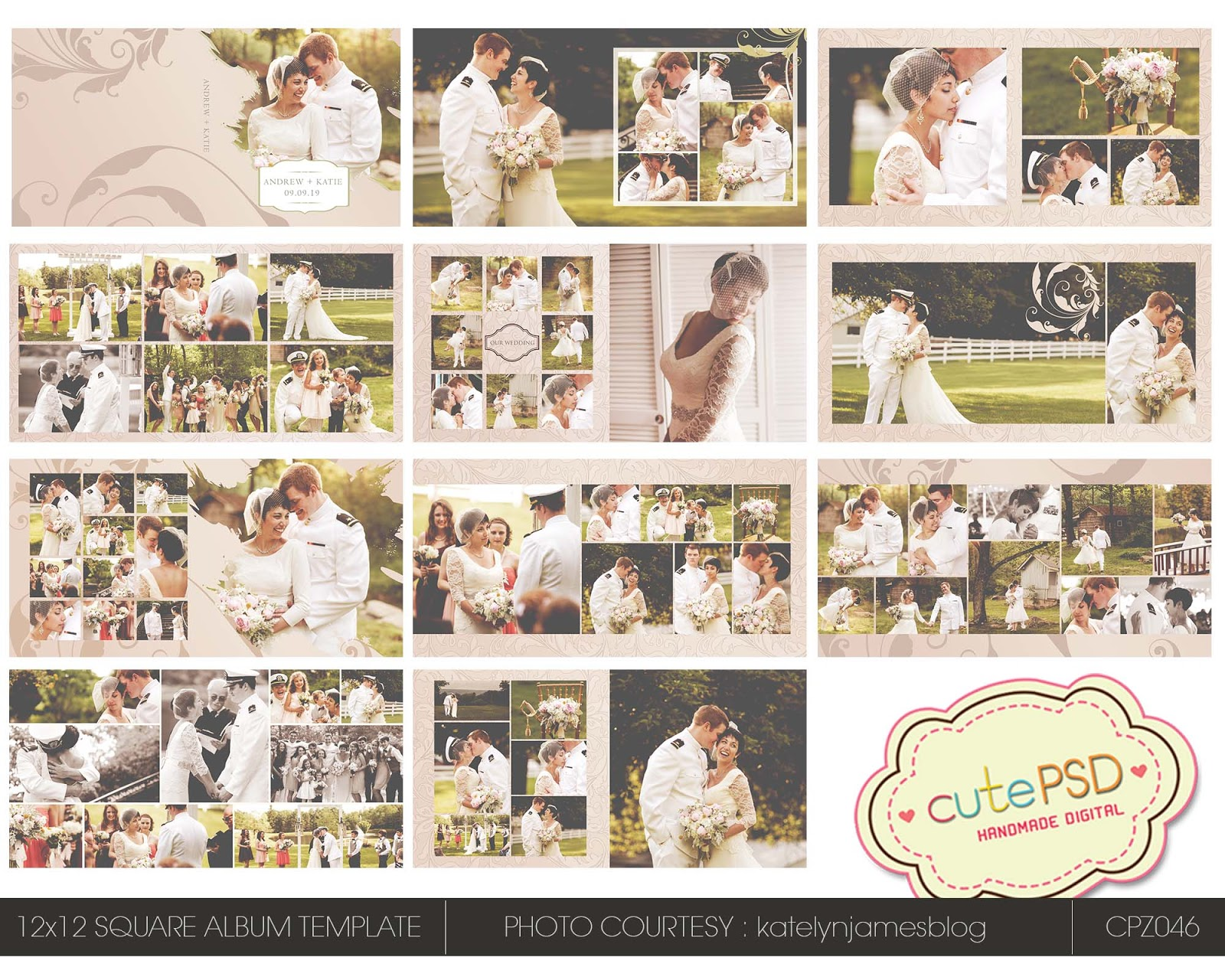 Instant 12x12 Square Wedding Al Template Cpz046