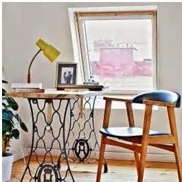 A mi manera hacer un escritorio con una m quina de coser for Como reciclar una mesa de tv vieja