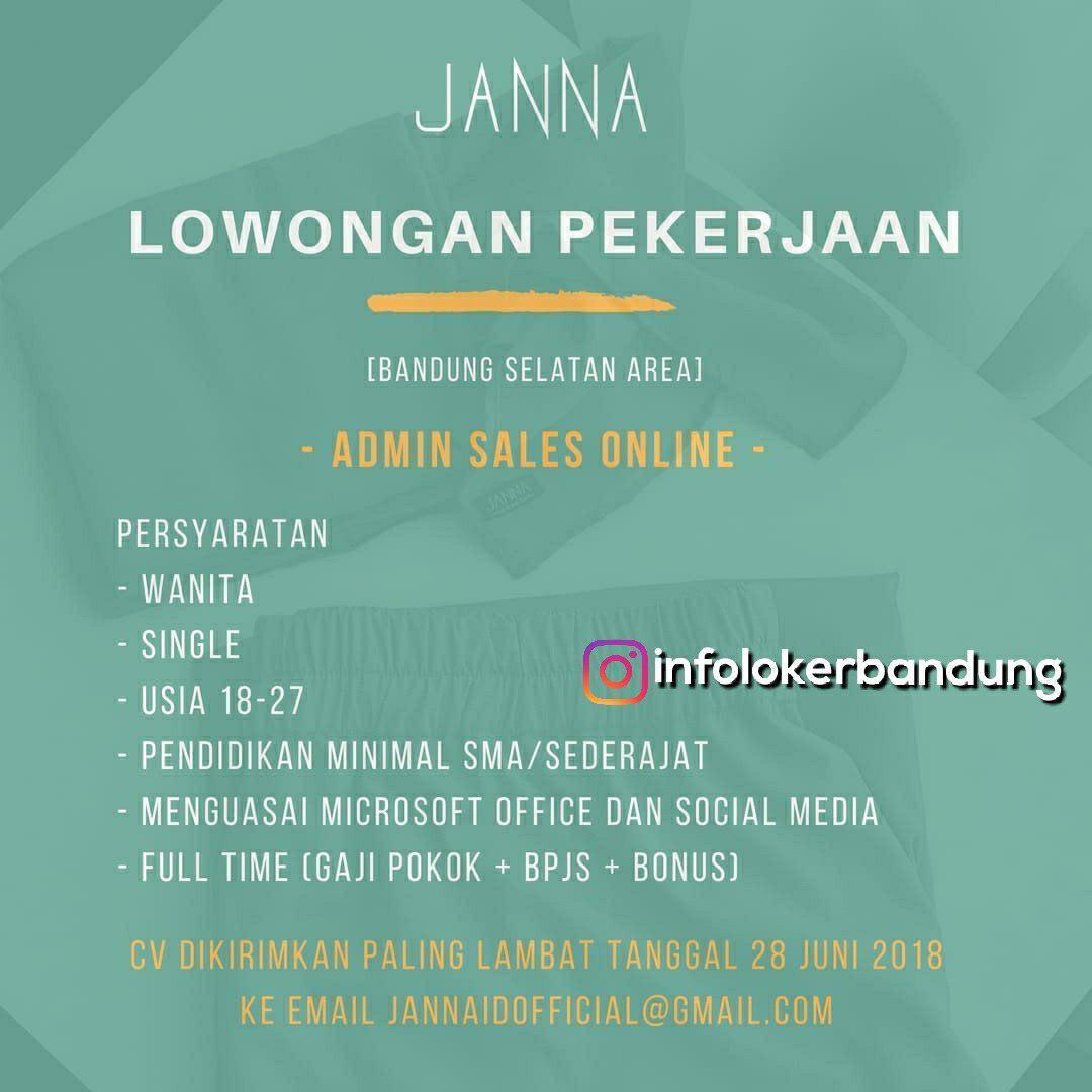 Lowongan Kerja Janna Indonesia Bandung Juni 2018