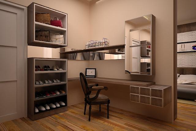 meja rias kayu minimalis