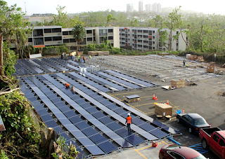 Tesla is installing solar panels and Powerpack battery units to provide 24-hour electricity to a children's hospital that lost power during Hurricane Maria. It's part of wider discussion of building microgrids to increase resilience in Puerto Rico. (Credit: Tesla) Click to Enlarge.