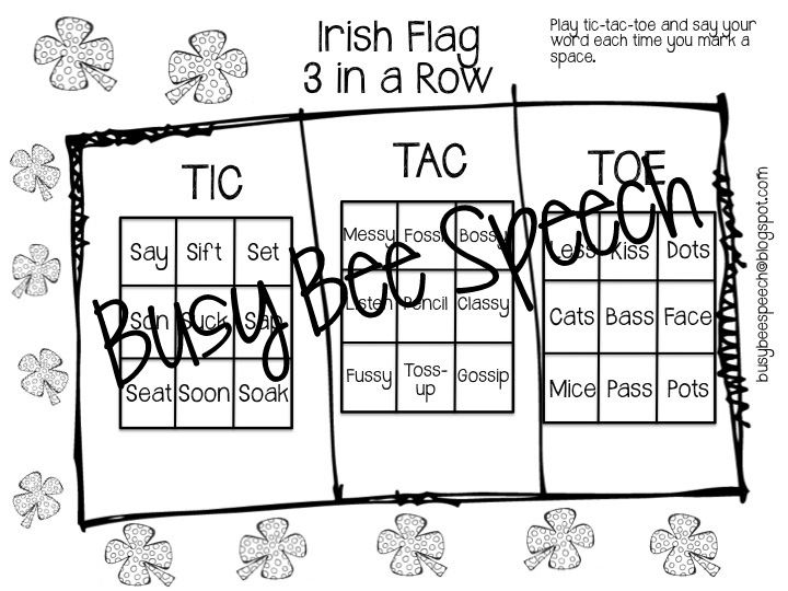 Busy Bee Speech: St. Patty's Day Worksheets & HW Packet!!