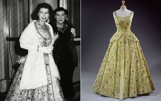 Caption: The Queen at the British Embassy in Washington in 1957 ... Young Queen Elizabeth 1 Dress