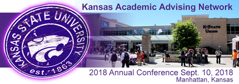 KAAN 2018: Kansas Academic Advising Network Annual Conference banner with photo of Kansas State University Union Building and powercat logo