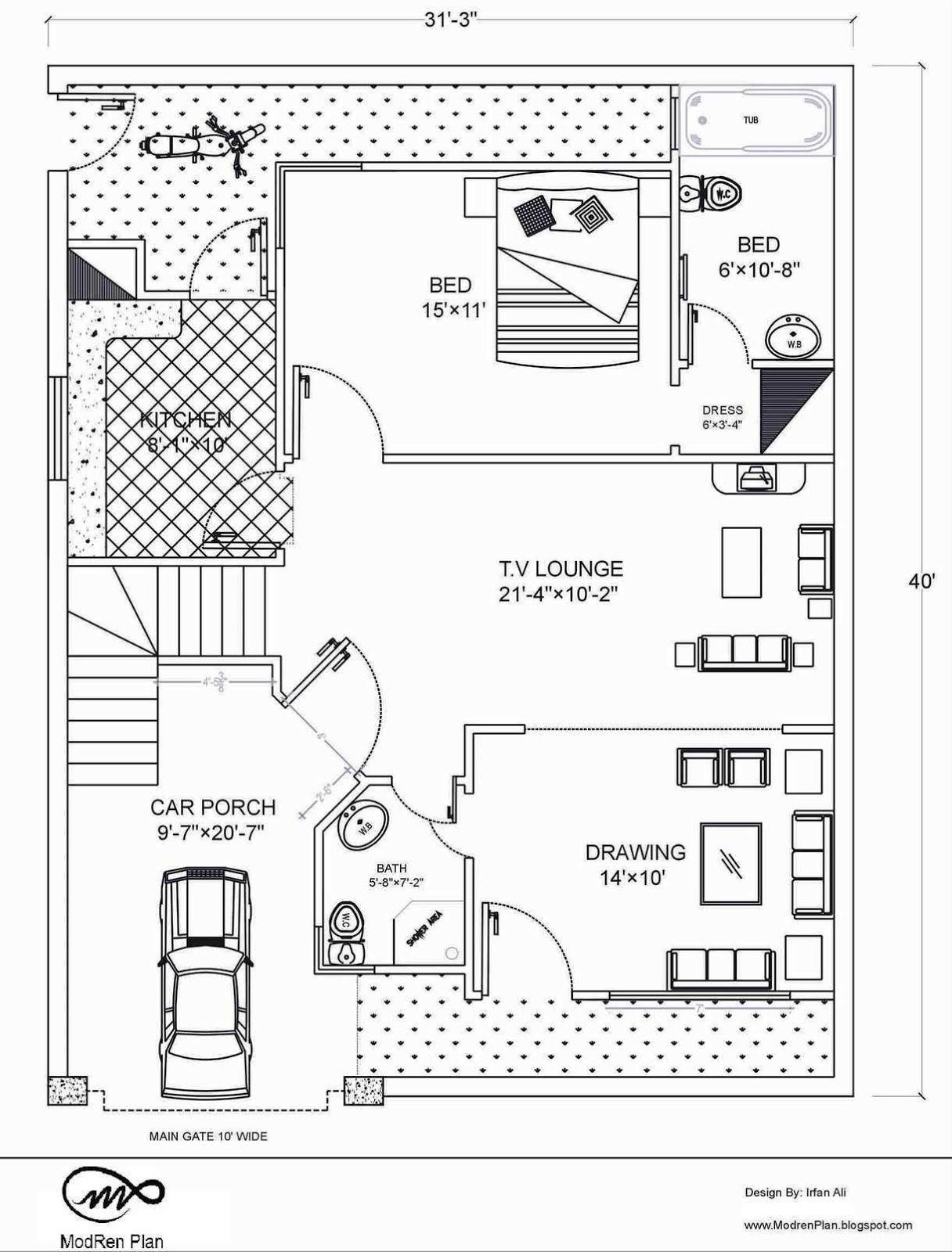 5 marla floor plan 30 x40 feet