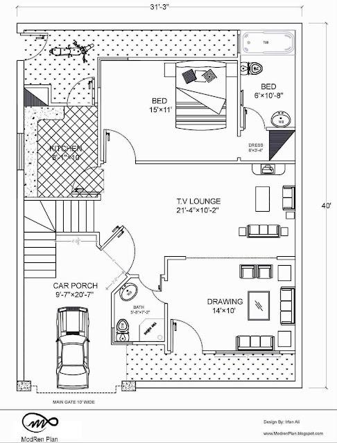 5 Marla Floor Plan 30 X40 Feet 1200