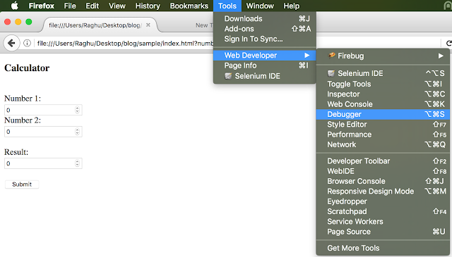 FireFox debugger select