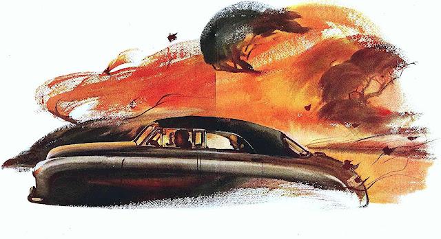 a 1948 Kaiser-Frazer illustration, driving in Autumn