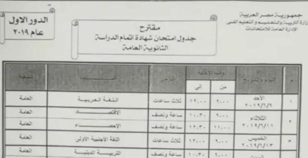 جدول امتحانات الثانوية العامة  موقع وزارة التربية والتعليم