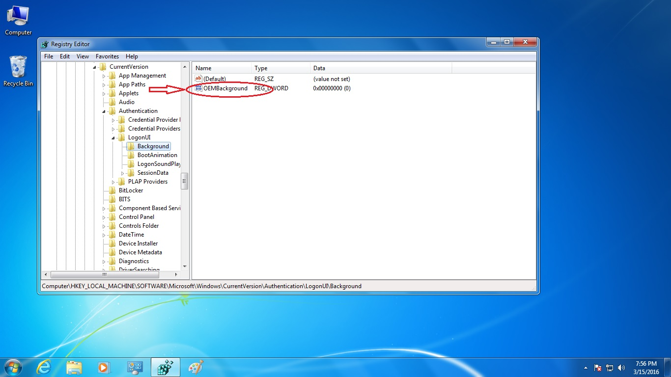 pc in pocket how to change logon screen in windows 7