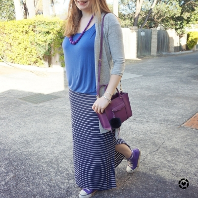 awayfromblue instagram monochrome blue maxi skirt outfit purple accessories