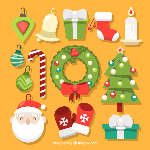 Pack of ornamental christmas elements Free Vector