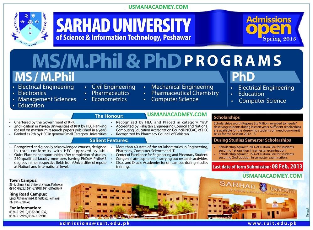 Sarhad University MS M Phil and Phd Admission 2019 Online