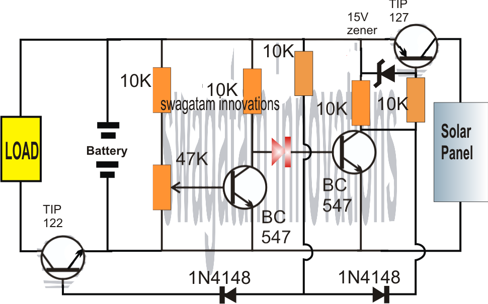 Solar Charger Circuit using Transistors with Automatic Cut-off
