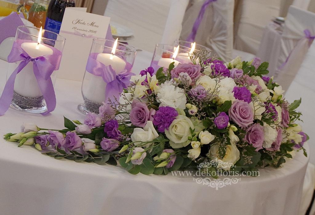 Fioletowa dekoracja sali wesele Nysa opolskie