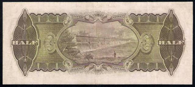 Australian Half Sovereign - Ten Shillings banknote 1927 Goulburn Weir near Nagambie, Victoria, Australia
