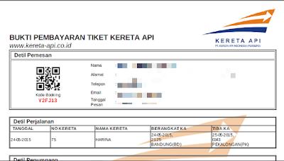 Contoh bukti pembayaran dan kode booking tiket kereta api online