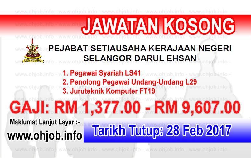 Jawatan Kerja Kosong Pejabat Setiausaha Kerajaan Negeri Selangor logo www.ohjob.info februari 2017