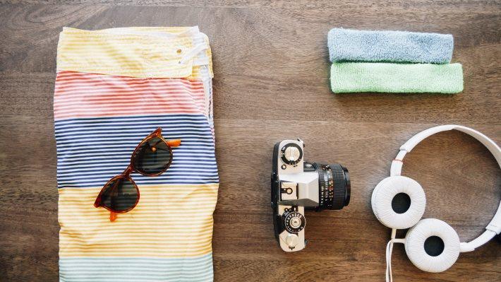 Wallpaper: Headphones, camera, casual, shorts, sunglasses