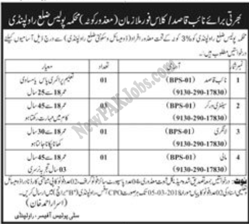 Latest Jobs in Rawalpindi Police for Disable people 2018