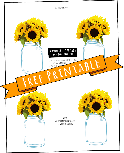 Free printable Sunflower and Mason Jar Gift Tag by Sarah Pecorino