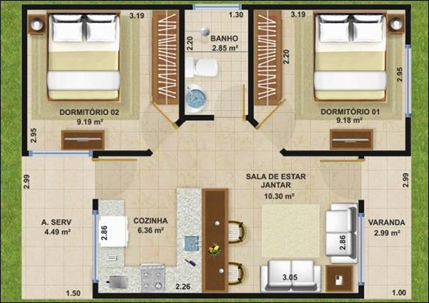 planta casa 2 dormitórios